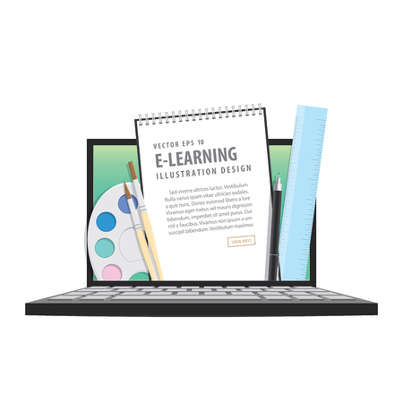 e-learning with laptop, learning through an online network. with supplies such as pens, book wire, compasses, palette, brush. meaning to learn a variety of subjects quick and easy illustration vector.