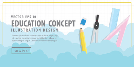 Illustration vector Banner Stationery in the air among the clouds and background into the grid. Represents the beginning of the creative.