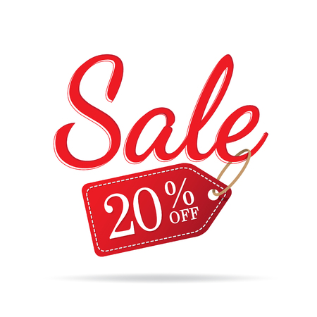 Ilustración de Vol.3 Sale sign set red on white background 20 percent off heading design for banner or poster. Sale and Discounts Concept. Vector illustration. - Imagen libre de derechos