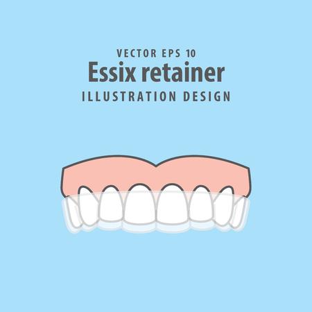 Illustration pour Essix retainer illustration vector on blue background. Dental concept. - image libre de droit