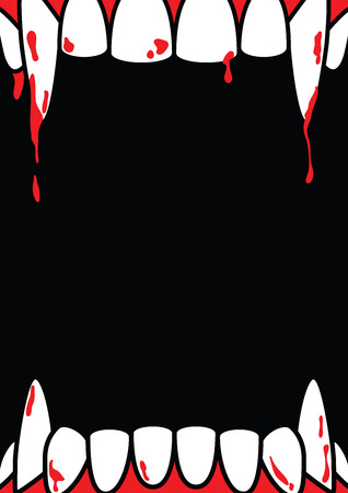 Illustration pour Halloween A4 frame blank poster with dracula fang on black background ilustration vector. Halloween concept. - image libre de droit