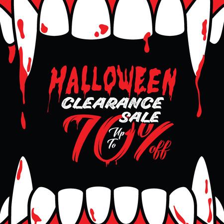 Illustration pour Halloween Clearance Sale Vol.3 70 percent heading design for banner or poster. Sale and Discounts Concept. - image libre de droit
