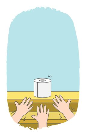 Illustration pour Blank banner three hands struggling for toilet paper on shelves in supermarket because it does not enough on demand of people in crisis situation. illustration vector. - image libre de droit