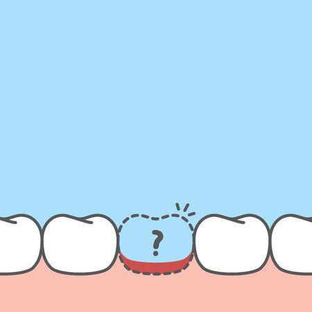 Illustration pour Blank banner of lost tooth illustration vector design on blue background. Dental care concept. - image libre de droit