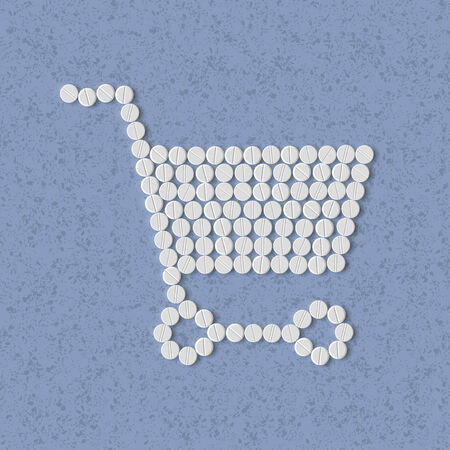 pills concept: shopping, trolley