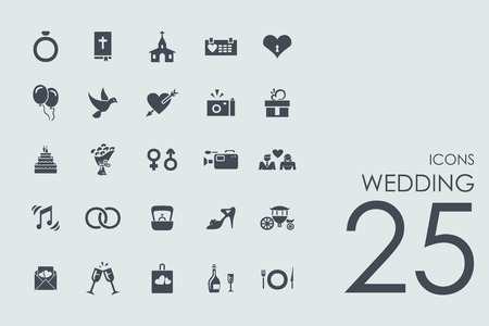 wedding vector set of modern simple iconsのイラスト素材