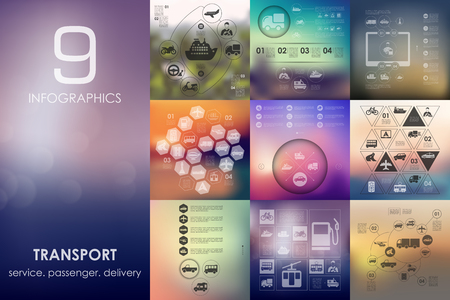 transport vector infographics with unfocused blurred background