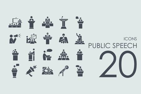 Illustration pour public speech vector set of modern simple icons - image libre de droit