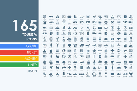 Illustration for tourism vector set of modern simple icons - Royalty Free Image