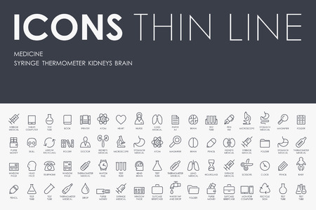 Illustration pour Thin Stroke Line Icons of medicine on White Background - image libre de droit