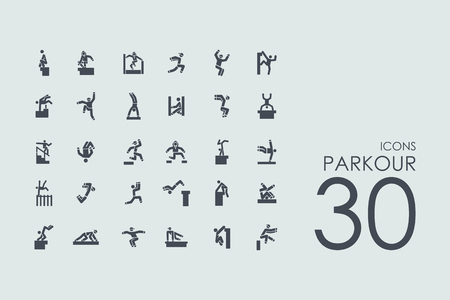 parkour vector set of modern simple icons