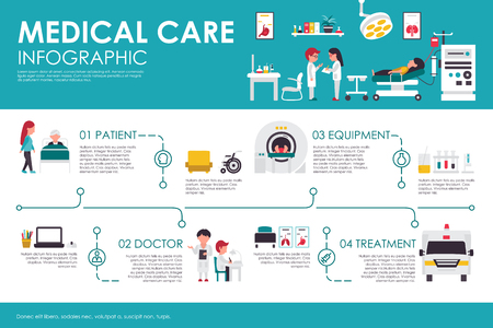 Ilustración de Hospital clinic interior flat medical concept web vector illustration. Patient, medical equipment, doctor, treatment. Presentation timeline - Imagen libre de derechos