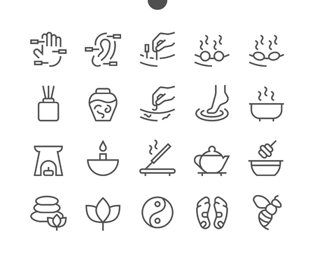 Illustration pour Alternative medicine UI Pixel Perfect Well-crafted Vector Thin Line Icons 48x48 Ready for 24x24 Grid for Web Graphics and Apps with Editable Stroke. Simple Minimal Pictogram - image libre de droit