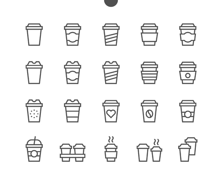 Illustration pour Coffee To Go Food UI Pixel Perfect Well-crafted Vector Thin Line Icons 48x48 Ready for 24x24 Grid for Web Graphics and Apps with Editable Stroke. Simple Minimal Pictogram Part 1-1 - image libre de droit