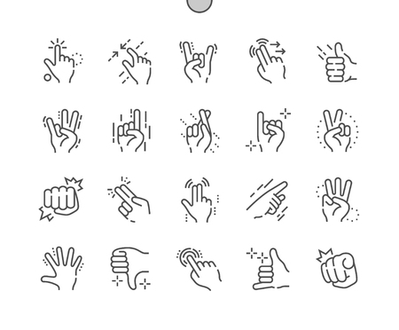 Illustration pour Gesture Well-crafted Pixel Perfect Vector Thin Line Icons grid for Web Graphics and Apps. Simple Minimal Pictogram - image libre de droit