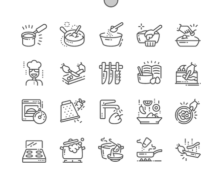 Illustration for Cooking Well-crafted Pixel Perfect Vector Thin Line Icons 30 2x Grid for Web Graphics and Apps. Simple Minimal Pictogram - Royalty Free Image