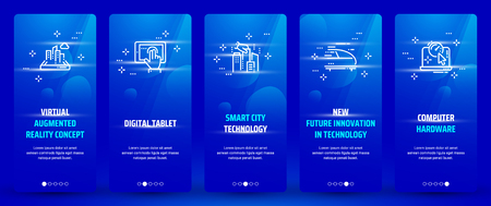 Virtual augmented reality concept , Digital tablet, Smart city technology, New future innovation in technology, Computer hardware Vertical Cards with strong metaphors.