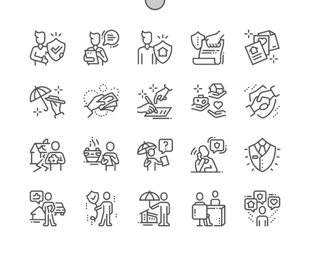 Insurance agent Well-crafted Pixel Perfect Vector Thin Line Icons 30 2x Grid for Web Graphics and Apps. Simple Minimal Pictogram