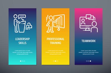 Illustration pour Leadership skills, Professional training, Teamwork Vertical Cards with strong metaphors. - image libre de droit