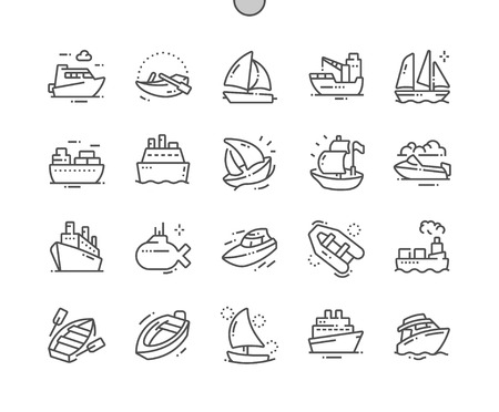 Photo pour Ships and Boats Well-crafted Pixel Perfect Vector Thin Line Icons 30 2x Grid for Web Graphics and Apps. Simple Minimal Pictogram - image libre de droit
