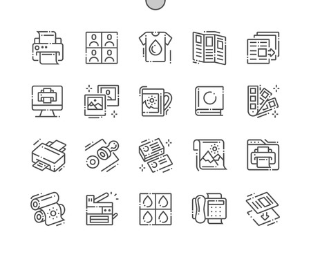 Foto de Print Well-crafted Pixel Perfect Vector Thin Line Icons 30 2x Grid for Web Graphics and Apps. Simple Minimal Pictogram - Imagen libre de derechos