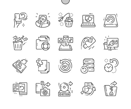 Illustration pour Data Recovery Well-crafted Pixel Perfect Vector Thin Line Icons 30 2x Grid for Web Graphics and Apps. Simple Minimal Pictogram - image libre de droit