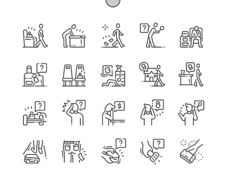 Illustration pour Lose things Well-crafted Pixel Perfect Vector Thin Line Icons 30 2x Grid for Web Graphics and Apps. Simple Minimal Pictogram - image libre de droit