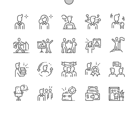 Illustration pour Office Workers Well-crafted Pixel Perfect Vector Thin Line Icons 30 2x Grid for Web Graphics and Apps. Simple Minimal Pictogram - image libre de droit