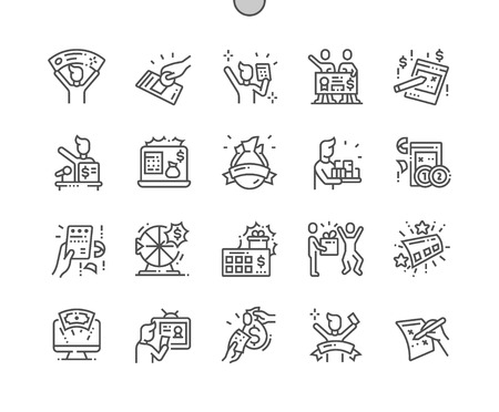 Illustration for Huge lottery win Well-crafted Pixel Perfect Vector Thin Line Icons 30 2x Grid for Web Graphics and Apps. Simple Minimal Pictogram - Royalty Free Image