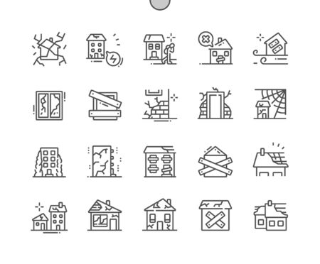 Illustration pour Abandoned houses Well-crafted Pixel Perfect Vector Thin Line Icons 30 2x Grid for Web Graphics and Apps. Simple Minimal Pictogram - image libre de droit