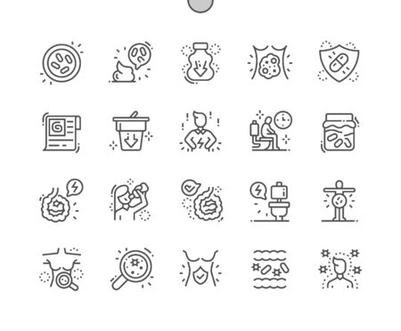 Illustration pour Probiotics Well-crafted Pixel Perfect Vector Thin Line Icons 30 2x Grid for Web Graphics and Apps. Simple Minimal Pictogram - image libre de droit