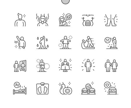 Ilustración de Overweight Well-crafted Pixel Perfect Vector Thin Line Icons 30 2x Grid for Web Graphics and Apps. Simple Minimal Pictogram - Imagen libre de derechos