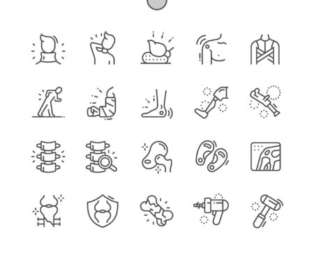 Illustration pour Orthopedics Well-crafted Pixel Perfect Vector Thin Line Icons 30 2x Grid for Web Graphics and Apps. Simple Minimal Pictogram - image libre de droit
