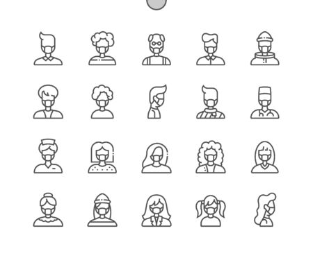 Illustration pour People with medical mask Well-crafted Pixel Perfect Vector Thin Line Icons 30 2x Grid for Web Graphics and Apps. Simple Minimal Pictogram - image libre de droit
