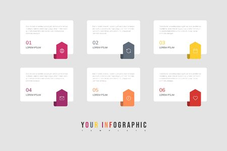Illustration pour Infographics design vector and marketing icons can be used for workflow layout, diagram, annual report, web design. Business concept with 6 options, steps or processes. - image libre de droit