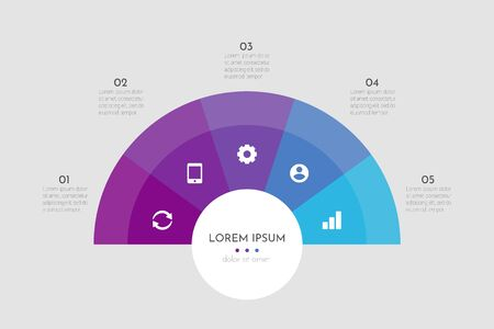 Illustration pour Abstract modern template for creating infographics with 5 options. Vector circle chart design. Can be used for workflow layout, presentations, reports, visualizations, diagram, web design, education. - image libre de droit