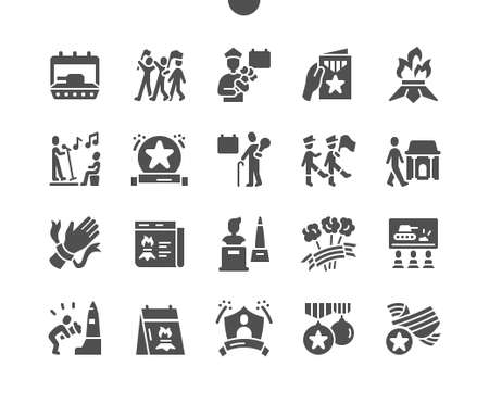 Illustration for Victory Day 9 May. Calendar. War veteran. Monuments to the heroes. Ninth of may. Holiday. Winner, parade, soldier, memory, win and freedom. Vector Solid Icons. Simple Pictogram - Royalty Free Image