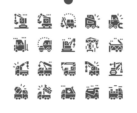 Illustration for Special machinery. Manipulator, road roller, dump truck, excavator, and crane. Special equipment for cargo transportation. Construction and vehicle. Vector Solid Icons. Simple Pictogram - Royalty Free Image