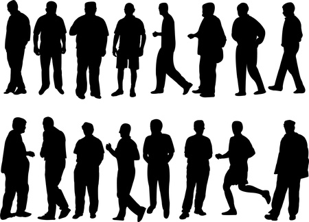 collection of people silhouette - vector