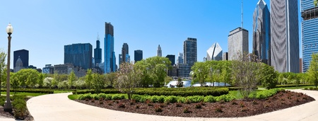 Chicago skyline a panoramic view from millennium park
