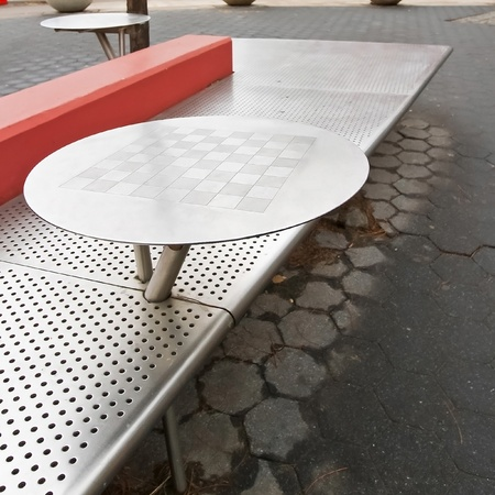Outdoor stainless steel chess board table and the bench