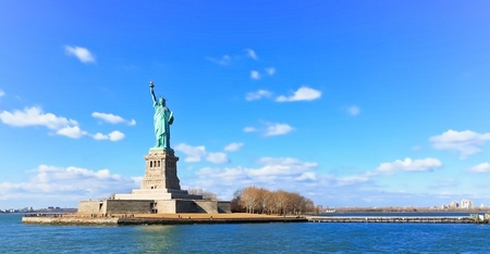 Landscape panorama view of The Statue of Liberty