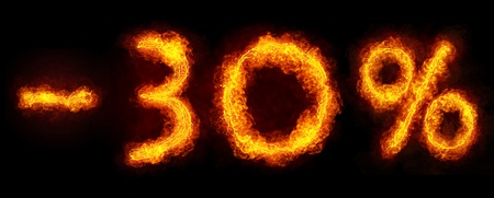 -30 percent created by fire flame on black background