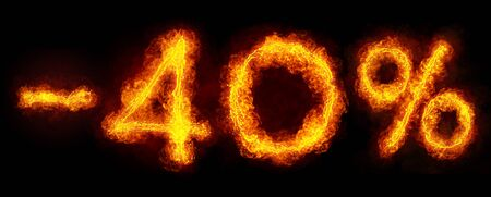 -40 percent created by fire flame on black background