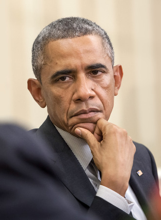 WASHINGTON D.C., USA - Sep 18, 2014: United States President Barack Obama during an official meeting with the President of Ukraine Petro Poroshenko in Washington, DC (USA)