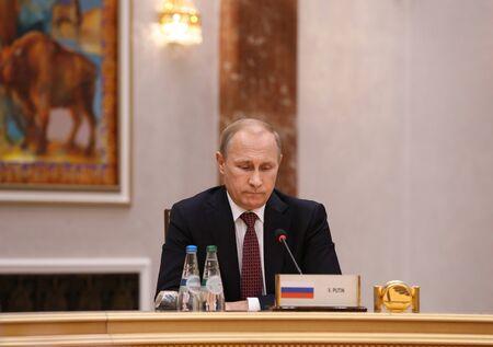 MINSK, BELARUS - Feb 11, 2015: Russian President Vladimir Putin before the negotiations leaders of states in Normandy format in Minsk