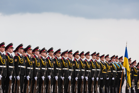 KIEV, UKRAINE - Jun 15, 2016: A guard of honor during a meeting of Secretary of State of the Holy See Cardinal Pietro Parolin