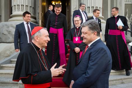 KIEV, UKRAINE - Jun 17, 2016: Meeting the President of Ukraine Petro Poroshenko with the Vatican Secretary of State Cardinal Pietro Parolin