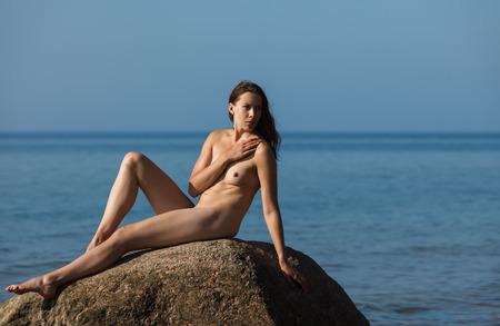 Beach nude girl happy other