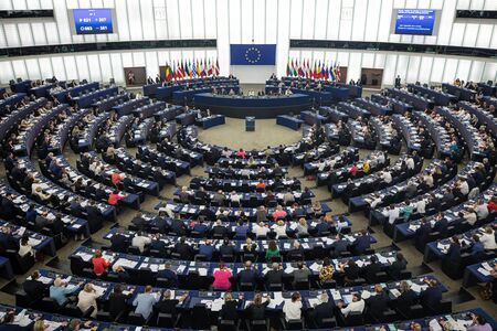 Foto de STRASBOURG, FRANCE - 18 Jul 2019: Plenary room of the European Parliament in Strasbourg - Imagen libre de derechos